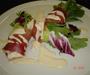 Ассорти из салатов  в пармской ветчине с сырным соусом.