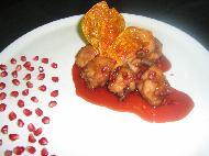 Куриные крылышки с  соусом из портвейна и граната